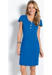 Vestido Curto Azul Com Botões Decorativos