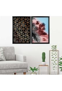 Quadro Love Decor Com Moldura Chanfrada Praia Com Abstrato Preto Grande