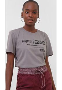 Camiseta Morena Rosa Lettering Cinza