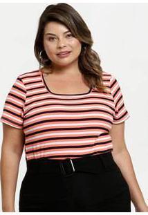 Blusa Feminina Canelada Listrada Plus Size Marisa