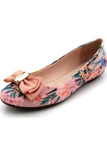 Sapatilha Moleca Floral Feminina - Feminino-Rosa