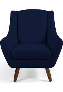 Poltrona Decorativa Sala De Estar Pés De Madeira Naomi Veludo Azul Marinho - Gran Belo