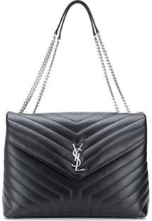 Saint Laurent Large Loulou Quilted Shoulder Bag - Preto