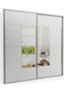 Armário Dante 02 Portas De Correr C/ Espelho Em 02 Portas 2,10, Padrao - Branco