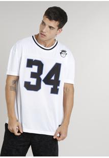 "Camiseta Masculina Ampla Kings Sneakers ""34"" Manga Curta Gola Careca Branca"