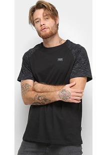 Camiseta Quiksilver Raglan Stripes Masculina - Masculino-Preto