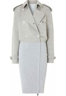 Burberry Trench Coat Com Recorte Canelado - Cinza