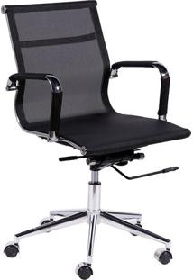 Jogo De Cadeiras Office Eames Tela- Preto & Prateadoor Design