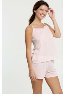 Pijama Feminino Listrado Renda Alças Finas Marisa