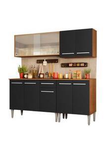 Armário De Cozinha Completa Madesa Emilly Box Com Balcão E Aéreo Vidro Rustic/Preto Cor:Rustic/Preto