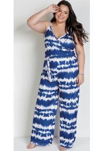 Macacão Transpassado Tie Dye Azul Plus Size