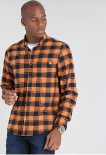 Camisa Masculina Comfort Estampada Xadrez Em Flanela Manga Longa Caramelo