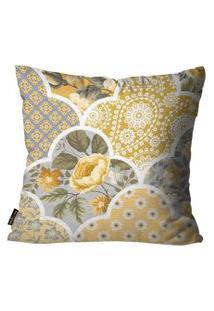 Capa Para Almofada Premium Peluciada Mdecore Floral Amarelo 45X45Cm Amarelo