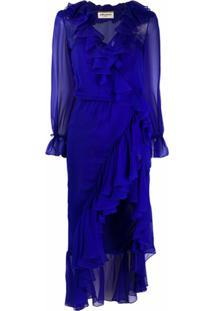 Saint Laurent Vestido Assimétrico Com Detalhe De Babados - Azul