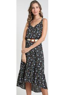 Vestido Feminino Midi Mullet Estampado Floral Alça Média Preto