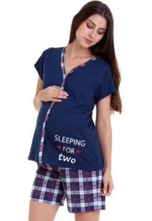 Pijama De Amamentação Bermudoll Luna Cuore Feminino - Feminino-Marinho