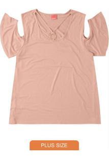 Blusa Rosa Claro Em Botonê Recortes