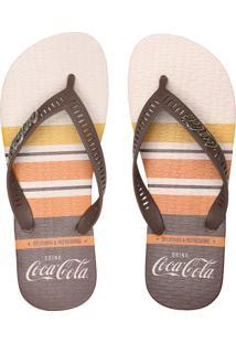 Chinelo Coca Cola Shoes Listrado Bege