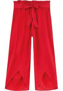 Calça Vermelha Pantacourt Em Linho