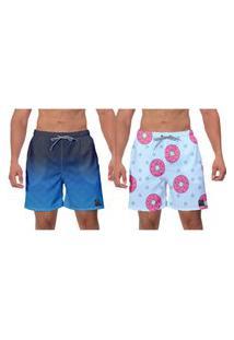 Kit 2 Shorts Moda Praia Masculina Azul Rosquinhas Piscina Academia Esporte Surf Banho W2