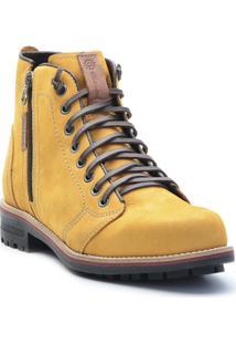 Bota Masculina Casual Style Ziper Lateral - Masculino-Amarelo Escuro