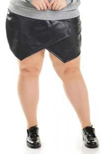 Shorts Plus Size Assimétrico Miss Masy Plus Feminino - Feminino-Preto