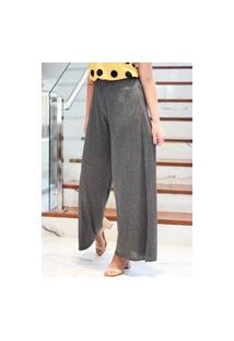 Calça Pantalona Lisa-Cinza Escuro-G