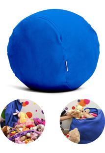 Puff Organizador Quartinhos Infantil Para Bichos De Pelúcia Azul Escuro