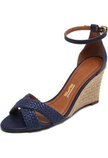 Sandália Santa Lolla Anabela Azul