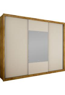 Guarda-Roupa Casal 3 Portas Com Espelho Arezzo Gold Bg- Novo Horizonte - Freijo Dourado / Off White