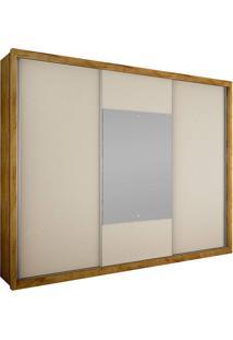 Guarda-Roupa Casal Com Espelho 3 Portas Arezzo Gold Bg- Novo Horizonte - Freijo Dourado / Off White