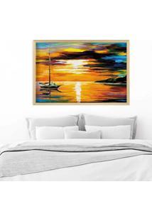 Quadro Love Decor Com Moldura Splendid Sun Madeira Clara Mã©Dio - Multicolorido - Dafiti