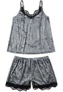 Pijama Curto Em Veludo Molhado Malwee Liberta Feminino - Feminino-Cinza