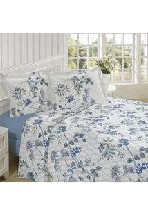 Jogo De Cama King Lepper Essence Floral 200 Fios Azul