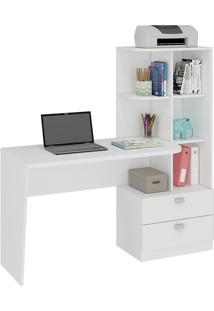 Mesa Para Computador Permóbili Móveis Elisa 2 Gavetas Branco