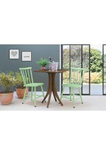 Mesa De Restaurante Com 2 Cadeiras Quadrada Juliette - Nogueira E Verde Sálvia