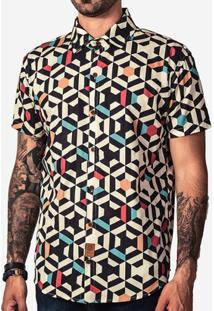 Camisa Hermoso Compadre Geometric Color Masculina - Masculino-Preto