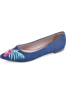Sapatilha La Femme Bordado Jeans Feminina - Feminino-Azul