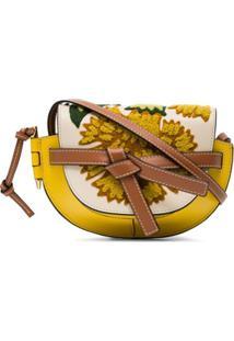 Loewe Bolsa Tiracolo Gate Mini De Couro Com Bordado - Amarelo