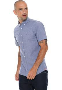 Camisa Tommy Hilfiger Reta Slub Azul