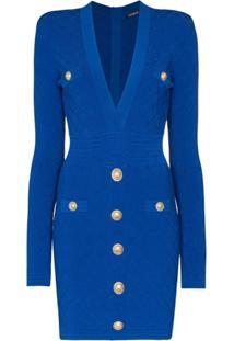 Balmain Vestido Slim Com Gola V - Azul