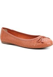 Sapatilha Couro Shoestock Cobra Laço Feminina - Feminino-Caramelo