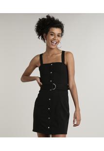 Vestido Feminino Com Recorte E Botões Decote Reto Alça Média Com Cinto Preto
