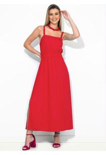 Vestido Midi Linho Vermelho