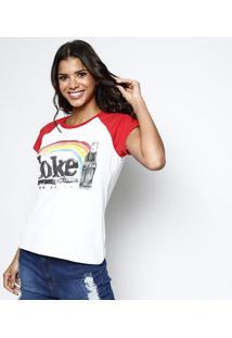 "Camiseta ""Coke® Rio Brazil"" - Branca & Vermelha - Cococa-Cola"