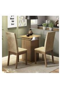 Conjunto Sala De Jantar Madesa Tamy Mesa Tampo De Vidro Com 2 Cadeiras Rustic/Imperial