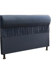 Cabeceira Casal King 195Cm Para Cama Box Vitória Suede Azul - Ds Móveis