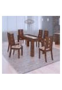 Conjunto De Mesa De Jantar Lais Com 6 Cadeiras Eduarda Linho Ebano E Floral