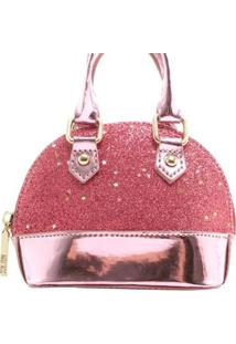 Mini Bolsa Birô Glitter Feminina - Feminino-Pink