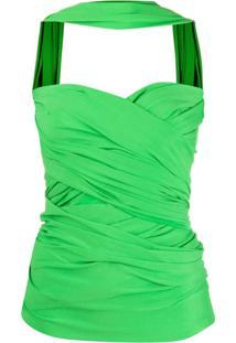 Balenciaga Wrap-Style Bustier Top - Verde